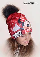 Детская шапка на флисе Минни 7