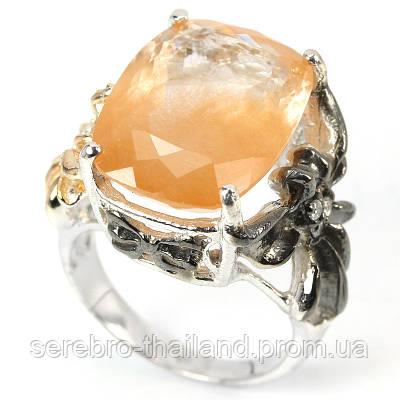Серебряное кольцо 925 пробы с натуральным золотистым рутиловым кварцем. Размер 17,3