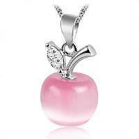 Кулон Яблоко розовое серебро