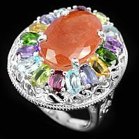 Серебряное кольцо 925 пробы с натуральным рутиловым кварцем и самоцветами