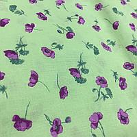 Ткань с мелкими фиолетовыми маками на салатовом фоне, бязь, хлопок