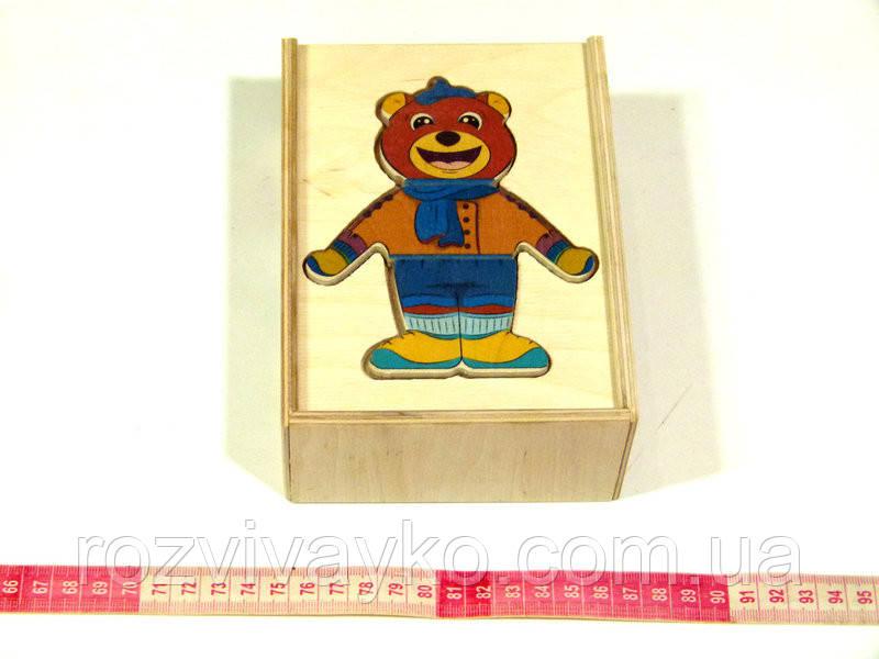 Развивающая деревянная игрушка Одевай-ка Мишка