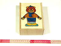Развивающая деревянная игрушка Одевай-ка Мишка, фото 1