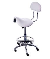 Стульчик мастера CH-444 седло, для косметолога, для медработника, для стоматолога, белый