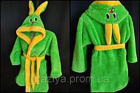 Детский махровый халат,детские халаты с ушками, халат зайчик для детей