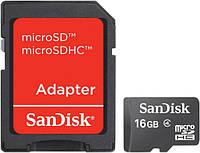 Карта памяти microSD Sandisk 16 GB class 4 + Adapter