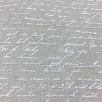 Ткань с письмом, буквами на бежевом фоне, хлопок