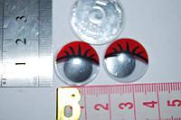 Глазки с ресничками подвижные  красные 20 мм