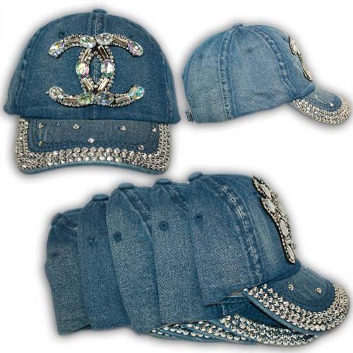 Джинсовая кепка с камнями, логотип Chanel, 1708_4, р. 55