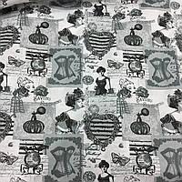 Ткань с черно-белыми сердцами, манекенами, духами в стиле Прованс, хлопок