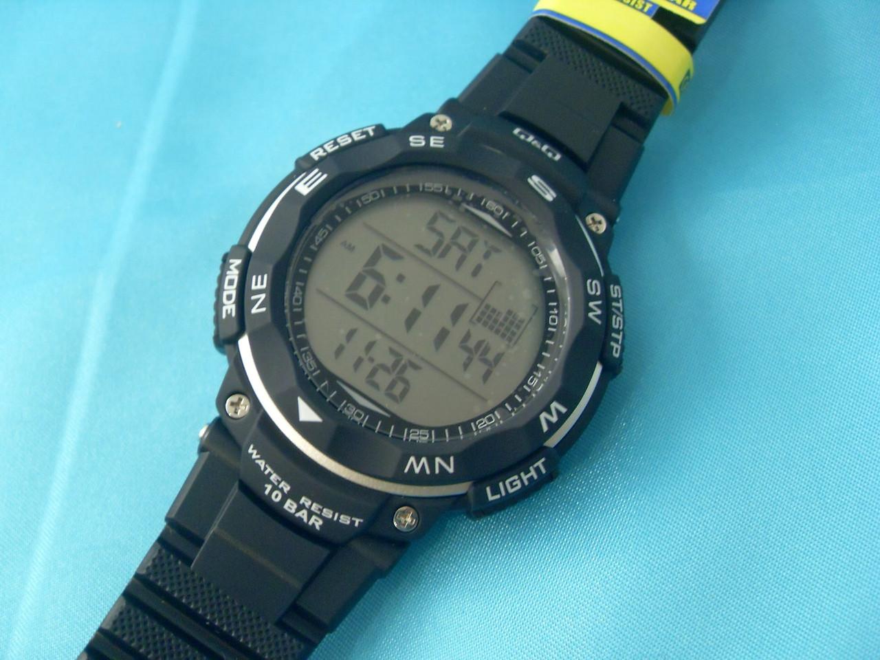 026846ba Спортивные часы Q&Q M124J002Y мужские кварцевые черные водонепроницаемые WR  100 с подсветкой - Shoppingood в Харькове