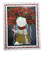 Картина с стеклом: Я - Украинка вышитая бисером