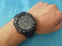 Спортивные часы Q&Q M145J002Y мужские кварцевые черные водонепроницаемые WR100 с подсветкой