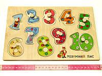 Деревянная игрушка досточка вкладки Числа Учимся Считать, фото 1