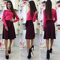 Женское платье миди юбка трапеция двухцветное