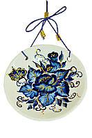 Тарелка керамическая декоративная с росписью гжель