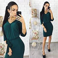 Платье мини зеленое с поясом