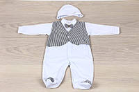 Крестильный набор для мальчика (человечек с жилетом и шапочка) 56-62р