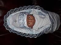 Пеленка с уголком, крыжма для мальчика 90х70 см. Голубое кружево