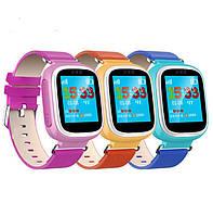 Детские умные часы телефон Smart Baby Watch Q80 c GPS и  сенсорным цветным экраном (синие)