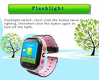 Детские умные часы телефон трекер Smart Baby Watch Q528 c сенсорным цветным экраном и фонариком (розовые)