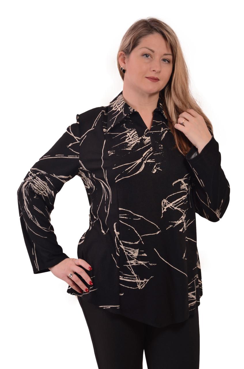 Блуза туника длинная женская теплая с французского трикотажа р 54-62