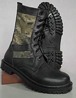 Берцы Нато кожа черного цвета с тканевыми камуфляжными вставками коричневый пиксель. Собственное производство (1)