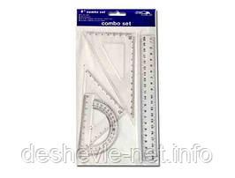 Набор линеек пластиковых  № 8011 (линейка 20 см., 2 уголка, транспортир)