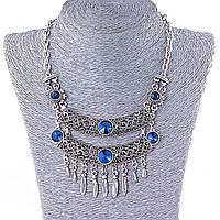 Колье в восточном стиле с крупными синими стразами,цвет металла серебро, длина 42-50см