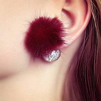 Серьги матрешка Dior натуральный мех страза стекло с наполнителем кристаллы темно-бордовый