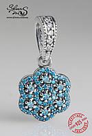 """Серебряная подвеска-шарм Пандора (Pandora) """"Кристальный цветок голубой"""" для браслета"""