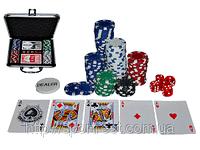 """Набор для игры в покер """"TEXAS HOLDEM"""", в кейсе (набор: 2 колоды карт, 100 фишек, 5 кубиков, 1 фишка дилера"""