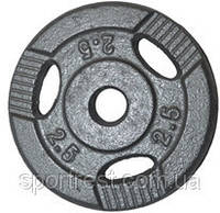 Диск для штанги металл, порошковая окраска. Вес 2,5 кг
