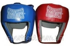 Шлем бокс открытый кожа (синий, красный) разм. S,M,L,XL
