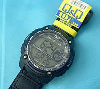 Мужские часы Q&Q M075J004Y кварцевые черные водонепроницаемые WR100 с подсветкой тканевый ремень