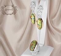Комплект из серебра с золотыми накладками Диана 1