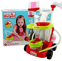 Игровой набор тележка для уборки с пылесосом 667-34: щетка, миска, тележка, распылитель, 38х15х49 см