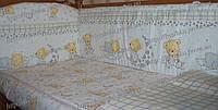 Постельное в кроватку новорожденного из 6 ед.(без кармана и балдахина). Бортики (35 см) со съёмными чехлами, фото 1
