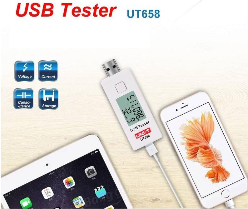 USB-тестер UNI-T UT658 для измерения напряжения,ёмкости,тока NEW! 2017