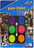 "Краски для лица, аквагрим со спонжем ""Face Paint"" 6 цв. неон"