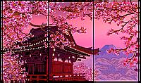 Схема для вышивки бисером POINT ART Триптих Сакура и пагода, размер 66х40 см