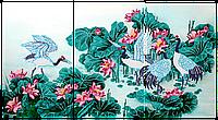 Схема для вышивки бисером POINT ART Триптих Журавли. Символ долголетия, размер 60х33 см