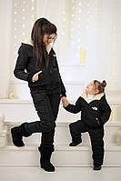 Зимний детский черный костюм The North Face (86-92, 98-104, 110-116)
