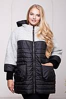 Куртка женская зимняя комбинированная №568 (р.54-64) 54, белый меланж