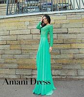 Платье длинное верх гипюр мятное