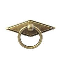 Ручка кольцо на подкладке URB-12-241 античная бронза, фото 1