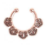 Серьга-обманка в нос Сердца розовое золото