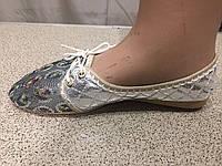 Балетки женские  серебро