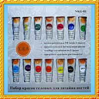 Yre Набор Гелевых Красок для Дизайна Ногтей NKG-01, 14 шт.