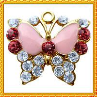 Подвеска - кулон бабочка со стразами, металл, Цвет: Золото, выс 20 мм. * шир. 23 мм.